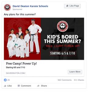 David Deaton Karate Schools Facebook Ad