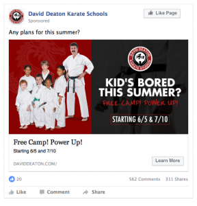 David Deaton Karate Schools Facebook Ad