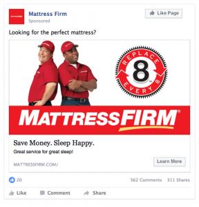 Mattress Firm Facebook Ad