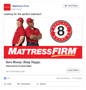 Mattress Firm Facebook Ad